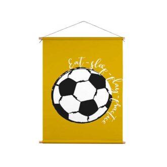 voetbal textielposter okergeel kinderkamer