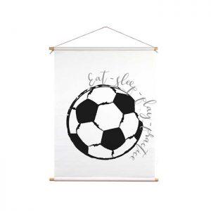 voetbal textielposter zwartwit kinderkamer
