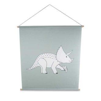 1 Poster dino groen XL textielposter triceratops hiphuisje