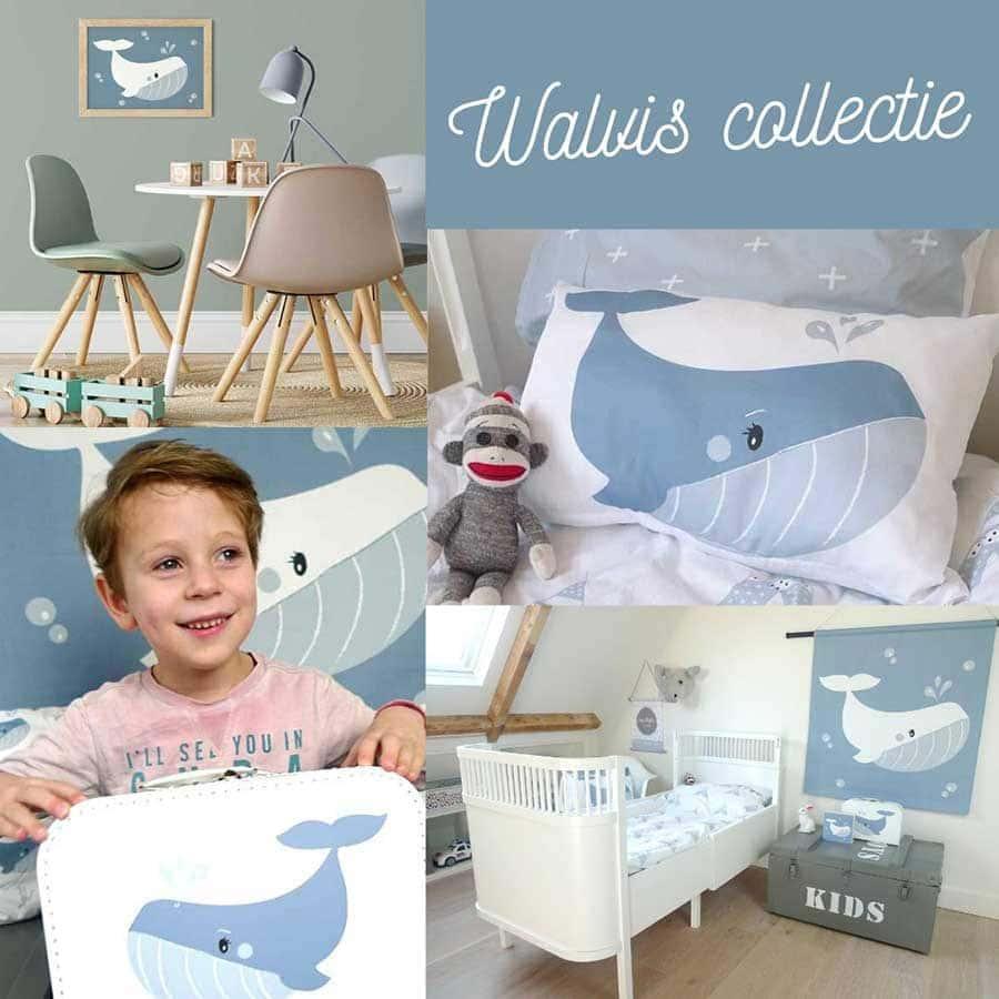 Walvis thema collectie kinderkamer jongenskamer decoratie blauw hiphuisje