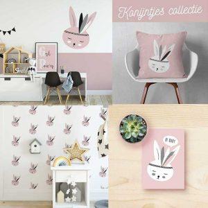 Konijntje thema kinderkamer roze hiphuisje kopie