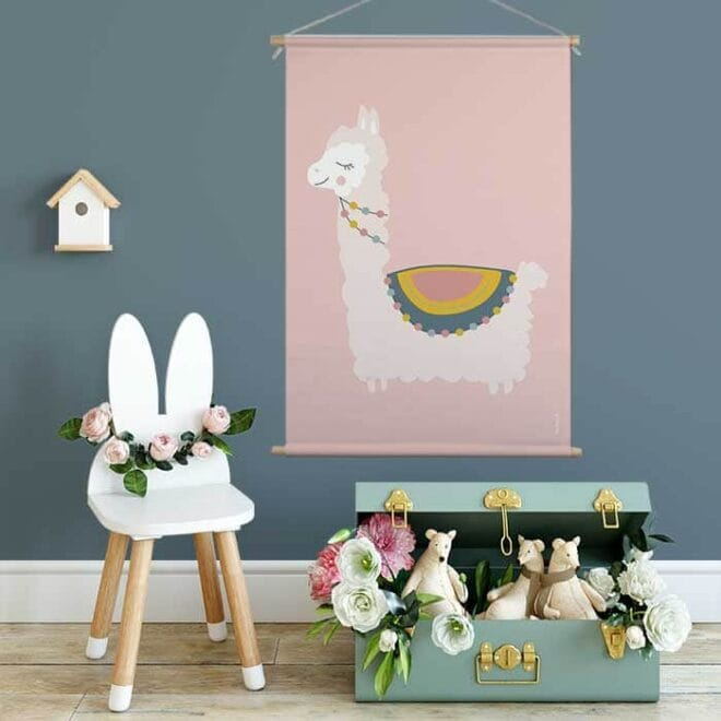Textielposter XL lama roze hiphuisje