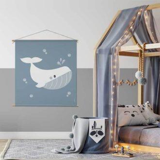 Textielposter XL walvis hiphuisje