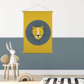 XL textielposter leeuw blauw oker hiphuisje