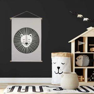 XL textielposter leeuw grijs zwart wit hiphuisje