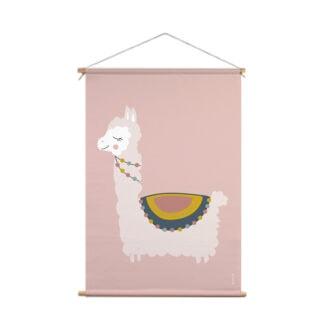 textielposter xl lama roze hiphuisje 1