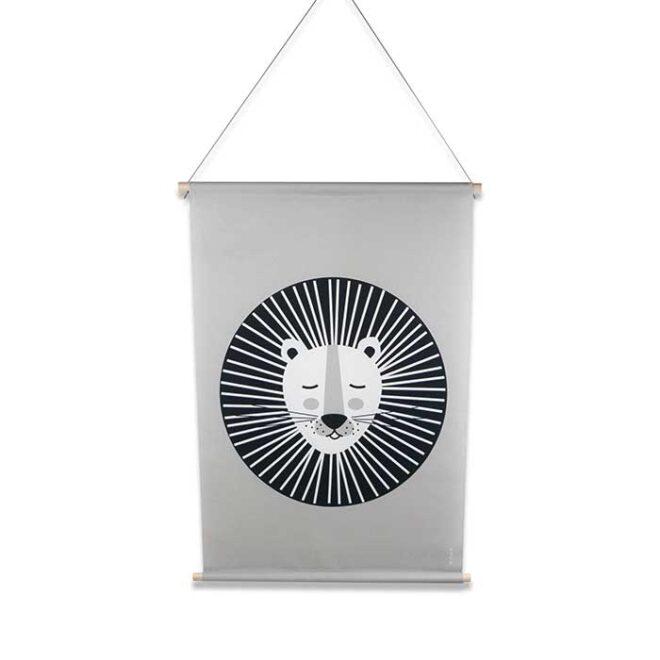 XL textielposter leeuw grijs zwartwit hiphuisje