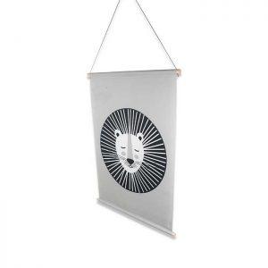 textielposter leeuw grijs zwartwit xl poster hiphuisje