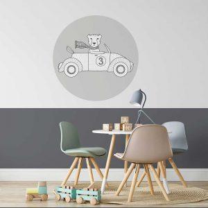 Muursticker cheetah wit grijs auto kinderkamer jongenskamer hiphuisje