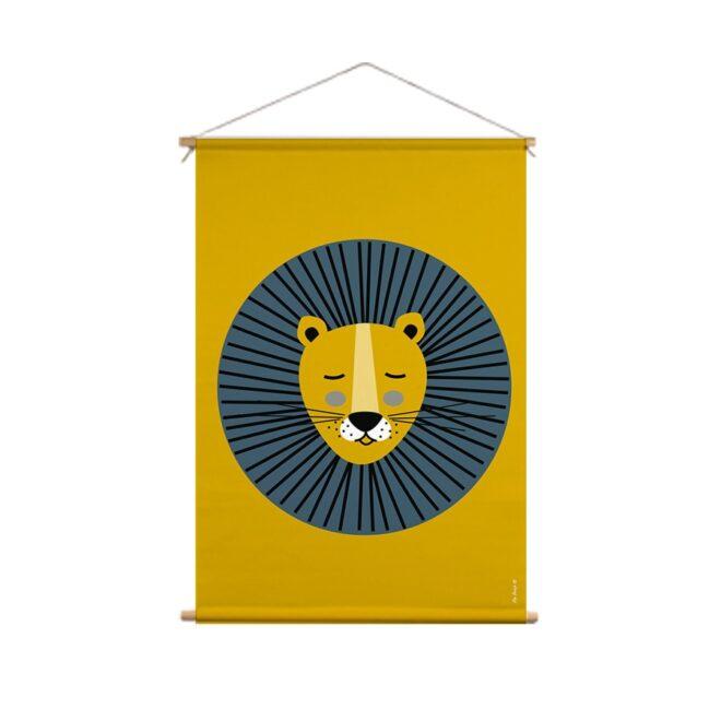 XL textielposter leeuw oker