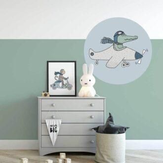 muursticker krokodil vliegtuig lichtblauw hiphuisje
