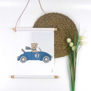 cheetah auto textielposter kinderkamer poster hiphuise