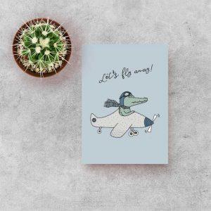 kaart krokodil vliegtuig kind kinderkamer hiphuisje