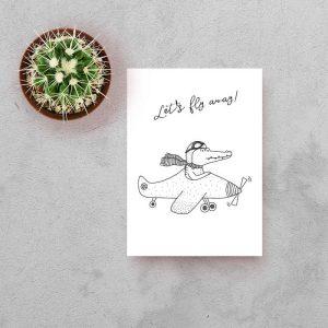 kaart krokodil vliegtuig zwart wit hiphuisje