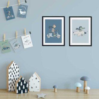 kaarten posters dieren jongenskamer blauw hiphuisje