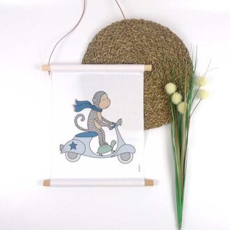 textielposter aap scooter a3 kinderkamer poster hiphuisje