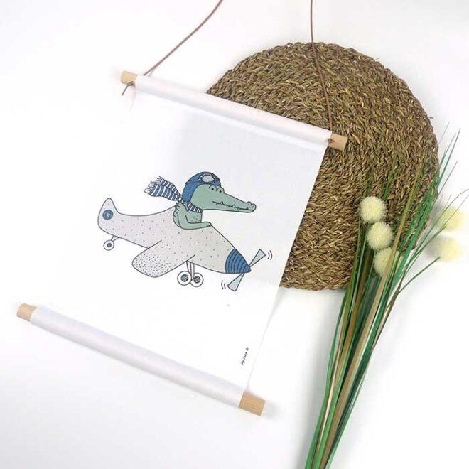 textielposter krokodil vliegtuig poster babykamer hiphuisje
