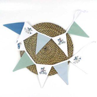 vlaggenlijn kinderkamer blauw groen dieren hiphuisje