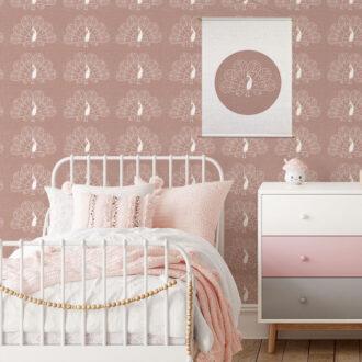 behang pauw oudroze meisjeskamer kinderbehang hip huisje