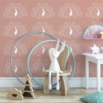 behang pauw oudroze meisjeskamer boho kinderkamer hiphuisje