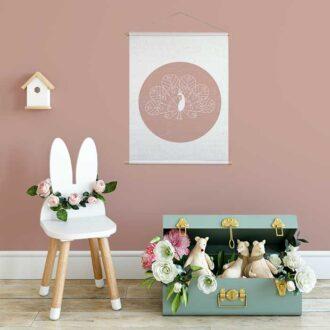 textielposter pauw roze meisjeskamer hiphuisje