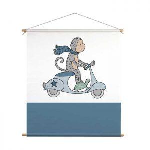 textielposter aap scooter kinderkamer jongenskamer dieren hiphuisje