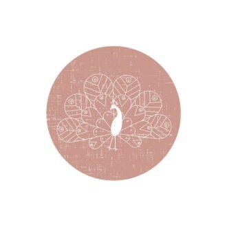 muurstickers cirkels pauw oudroze meisjeskamer hiphuisje