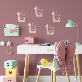 muurstickers lama roze klein kinderkamer hiphuisje
