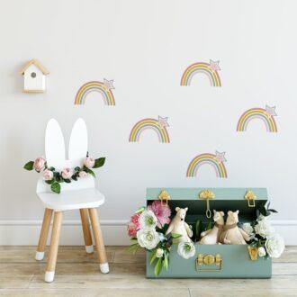 muurstickers regenboogjes kinderkamer decoratie hiphuisje