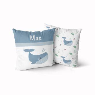 naamkussen walvis jongetje blauw hiphuisje