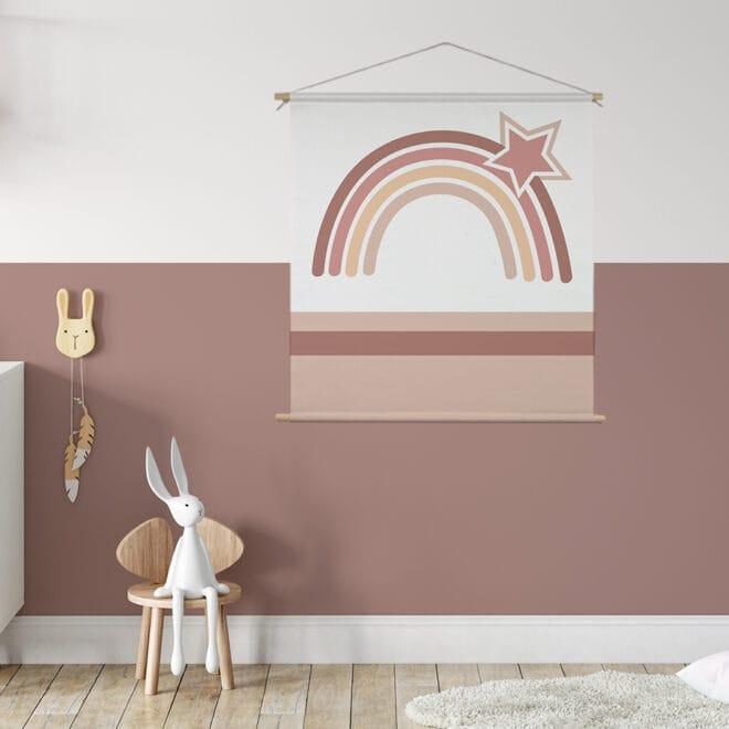 Textielposter regenboog aardetint kinderkamer meisjeskamer hiphuisje