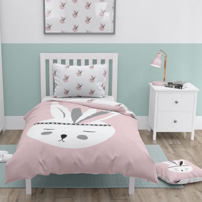 dekbedovertrek konijntje roze