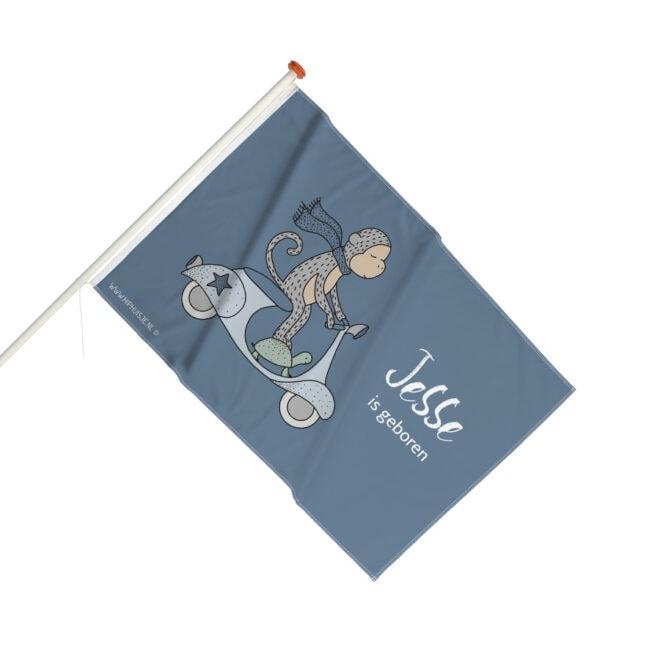 geboortevlag gevelvlag jongetje aapje blauw hiphuisje