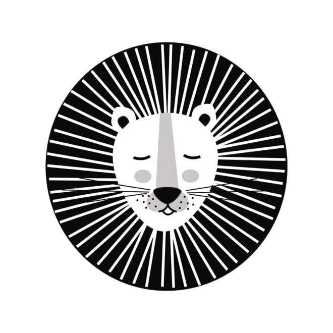 leeuw zwartwit muurstickers jungle kinderkamer hiphuisje