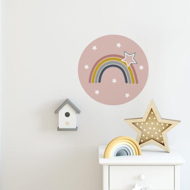 muurcirkels regenboog roze 40cm hiphuisje