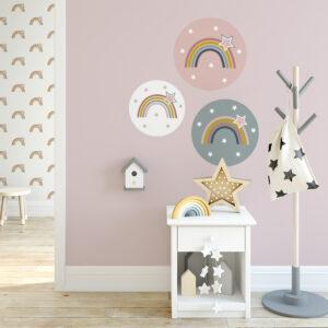 muurcirkels met regenboog sfeer kinderkamer regenboog hiphuisje
