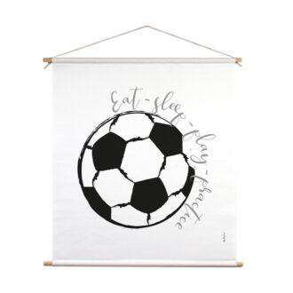 textielposter xl voetbal zwartwit jongenskamer hiphuisje