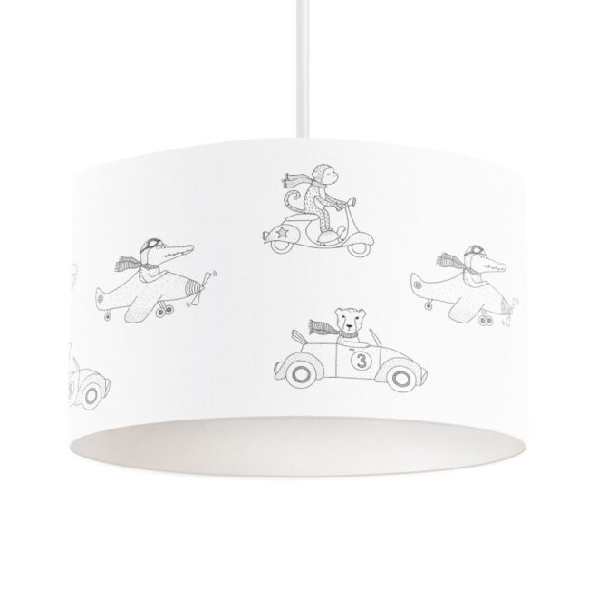 hanglamp dieren onderweg zwart wit jongenskamer lamp hiphuisje