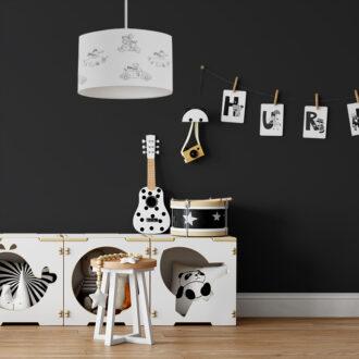 hanglamp dieren onderweg zwart wit sfeer kinderkamer hiphuisje