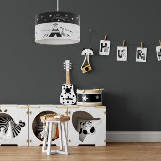 hanglamp tipi zwart wit kinderkamer hiphuisje