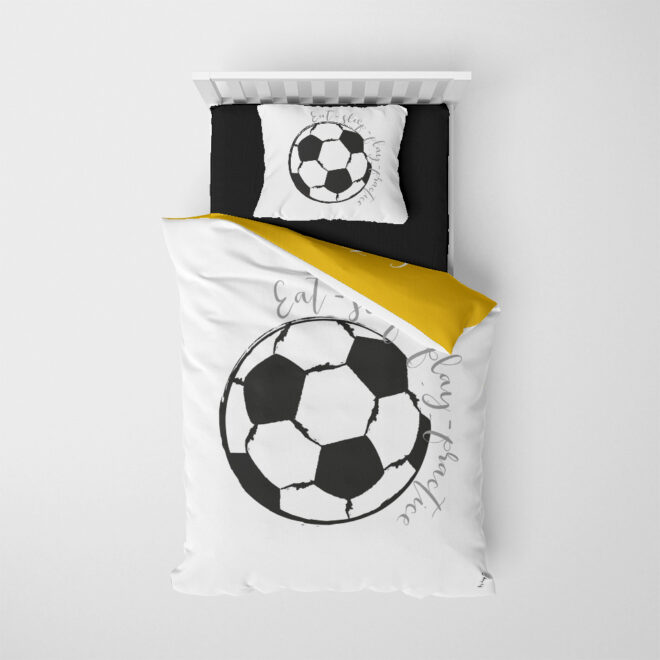 onderzijde dekbedovertrek voetbal zwart wit kinderkamer hiphuisje
