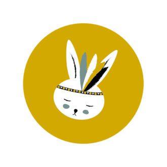 muurcirkel konijntje okergeel hiphuisje
