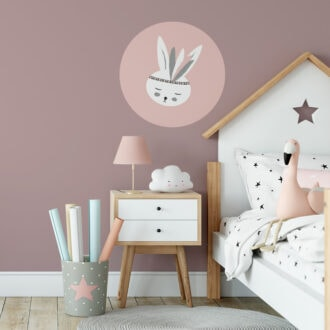 muurcirkel konijntje roze hiphuisje 1