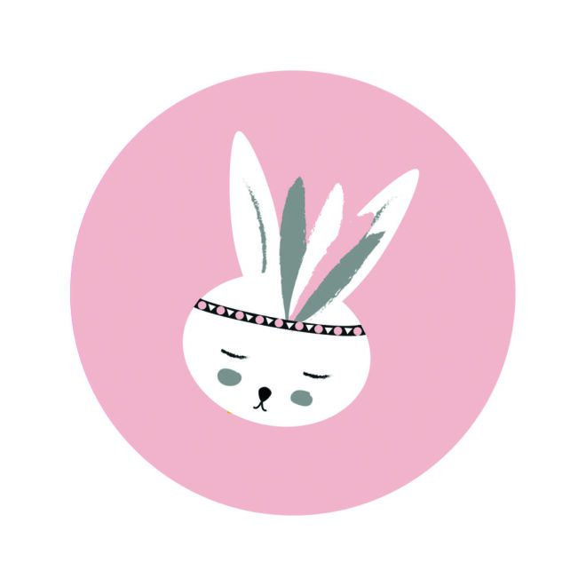 muurcirkel konijntje roze hiphuisje