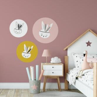 muurcirkels konijntje kleur hiphuisje