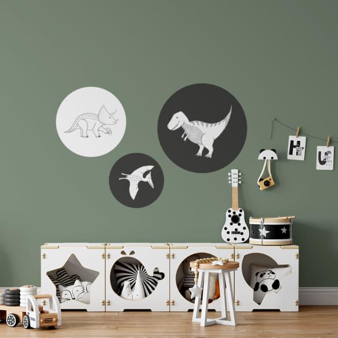 muurcirkels-dino-in-zwart-wit