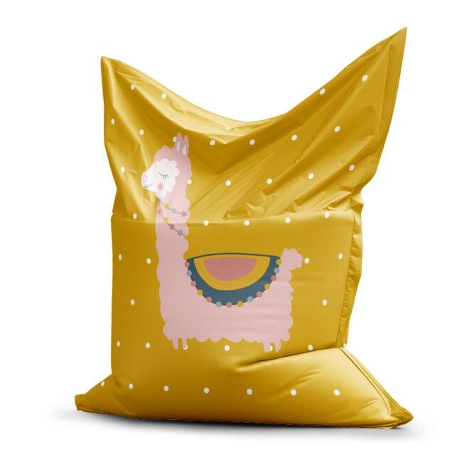 zitzak met lama in okergeel roze hiphuisje