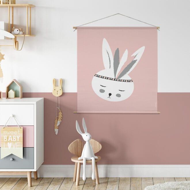 XL Textielposter met konijntje roze kinderkamer meisjeskamer hiphuisje