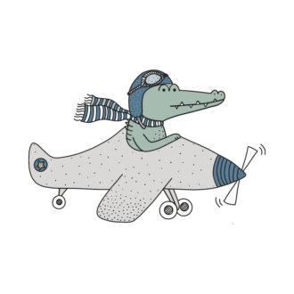 muurstickers krokodil vliegtuig hiphuisje 1