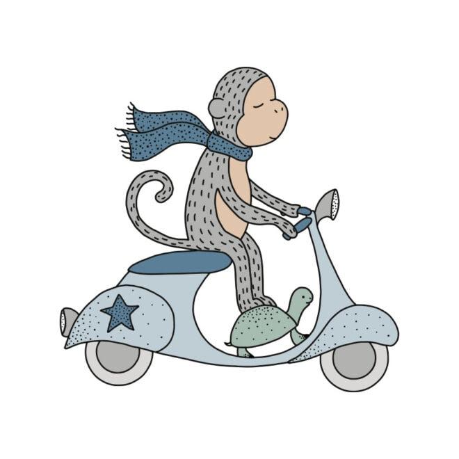 stickers aapje scooter hiphuisje